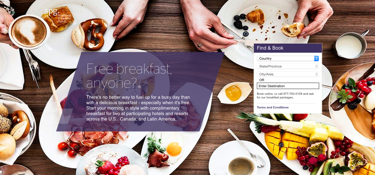 SPG Free Breakfast Deal