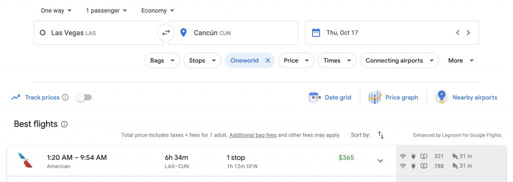 Google Flights Multi-city Search Las Vegas to Cancun | Point Hacks