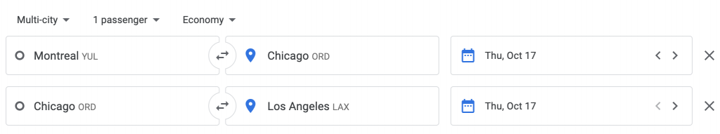 Google Flights Multi-City search Montreal to Chicago | Point Hacks