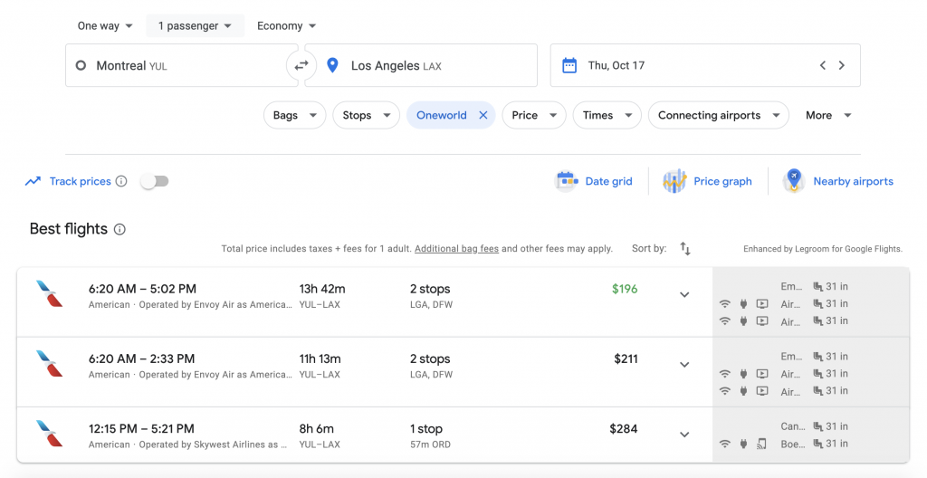 Google Flights Multi-City search Montreal to Los Angeles | Point Hacks