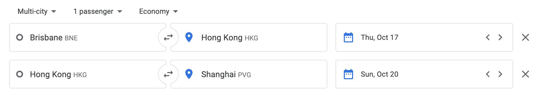Google Flights search Brisbane to Shanghai