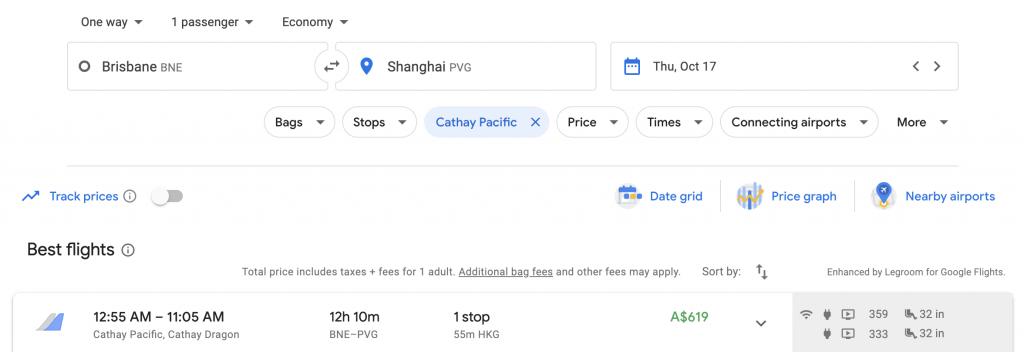 Google Flights Multi-city search Brisbane to Shanghai | Point Hacks