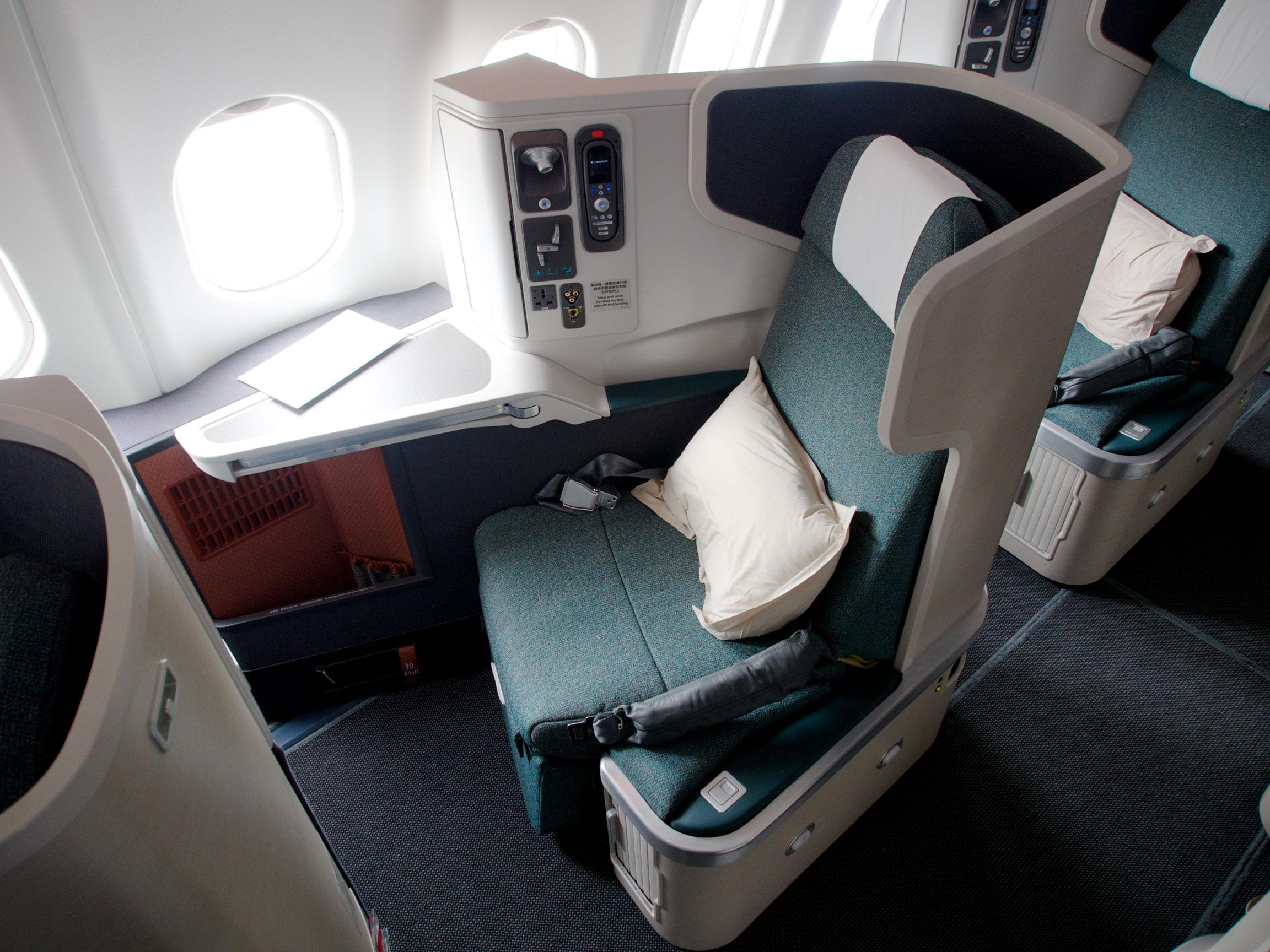 Cathay Pacific's reverse herringbone Business Class seat