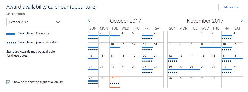 United website award availability calendar