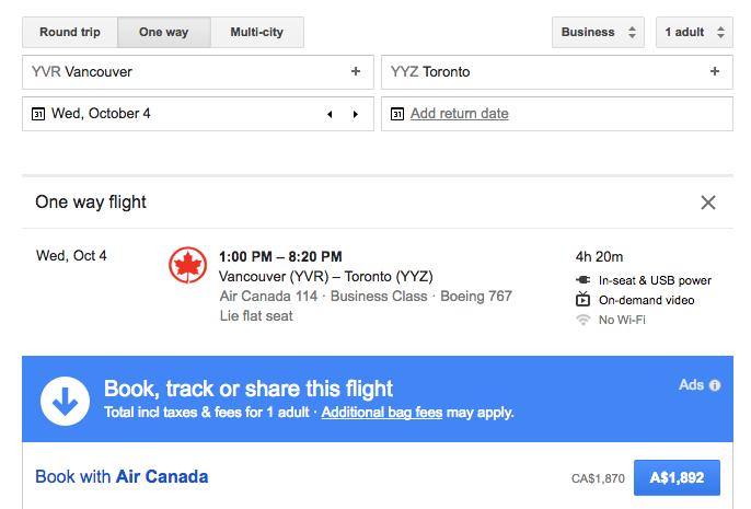 Google Flights search result