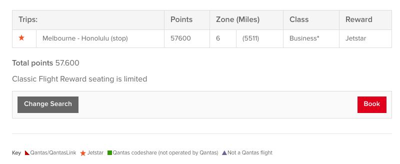Qantas website - using points calculator for Classic Flight Rewards