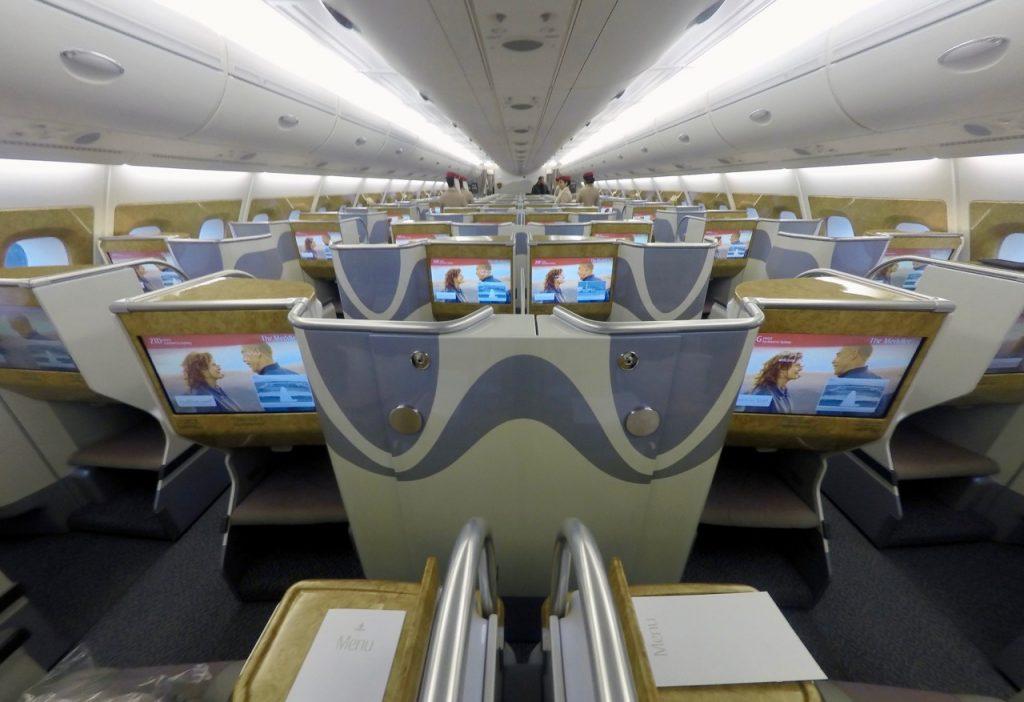 Emirates A380 Business Class Cabin EK Trans-Tasman | Point Hacks