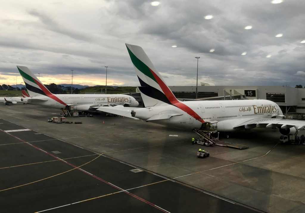 Emirates A380s on the tarmac at Auckland Airport