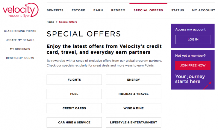 List of Velocity bonus offers | Point Hacks
