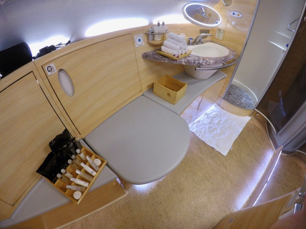 Emirates A380 First Class shower suite