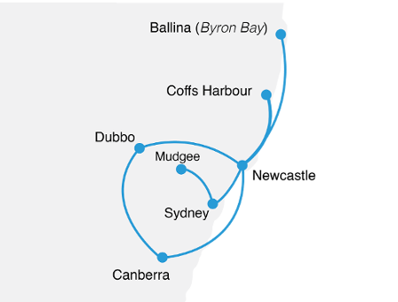 FlyPelican route map