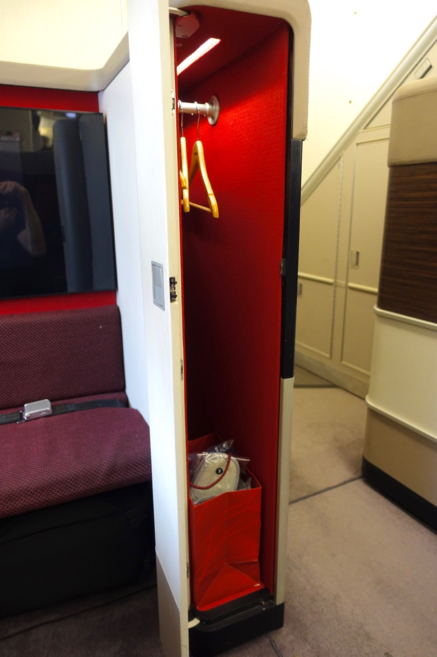 Malaysia Airlines A380 First Class personal closet