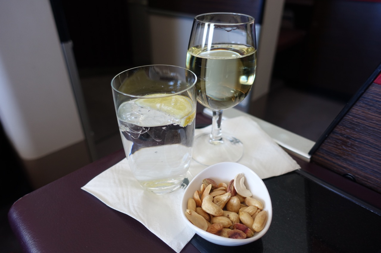 Malaysia Airlines A380 First Class wine and nuts