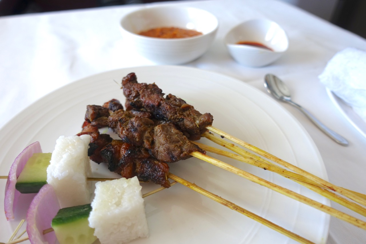 Malaysia Airlines A380 First Class satay