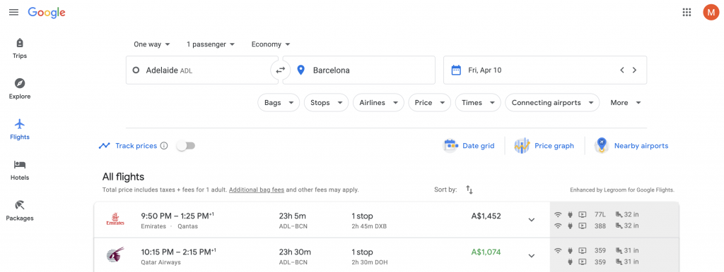 Google Flights Europe screenshot
