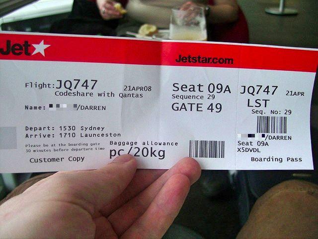 JetStar boarding pass