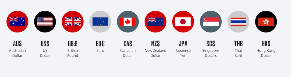 NAB traveller card currencies