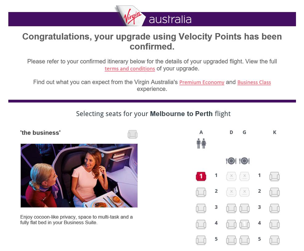 Virgin Australia upgrade confirmation
