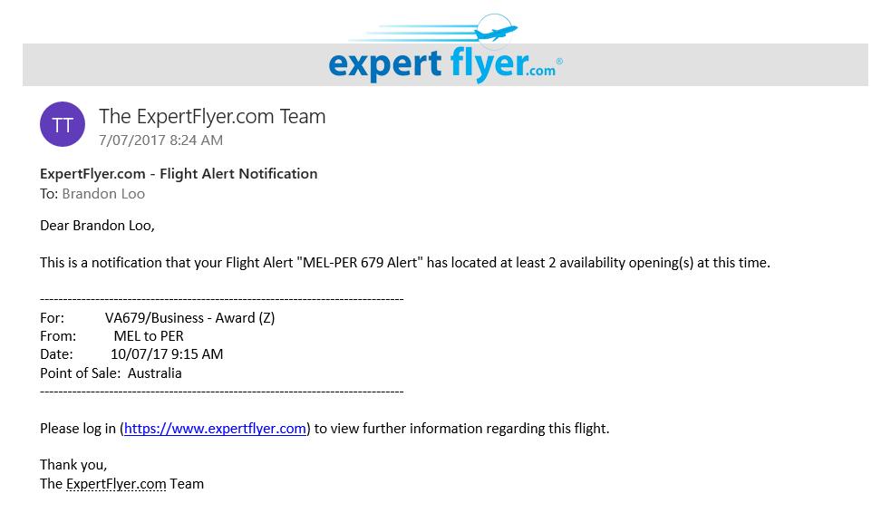 expert flyer flight alert notification