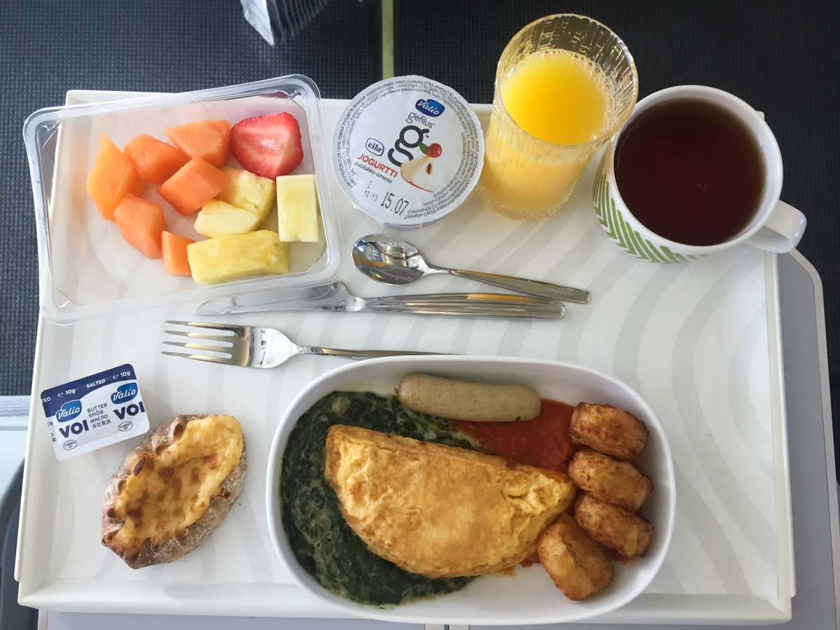 Finnair's Airbus A330 Business Class food