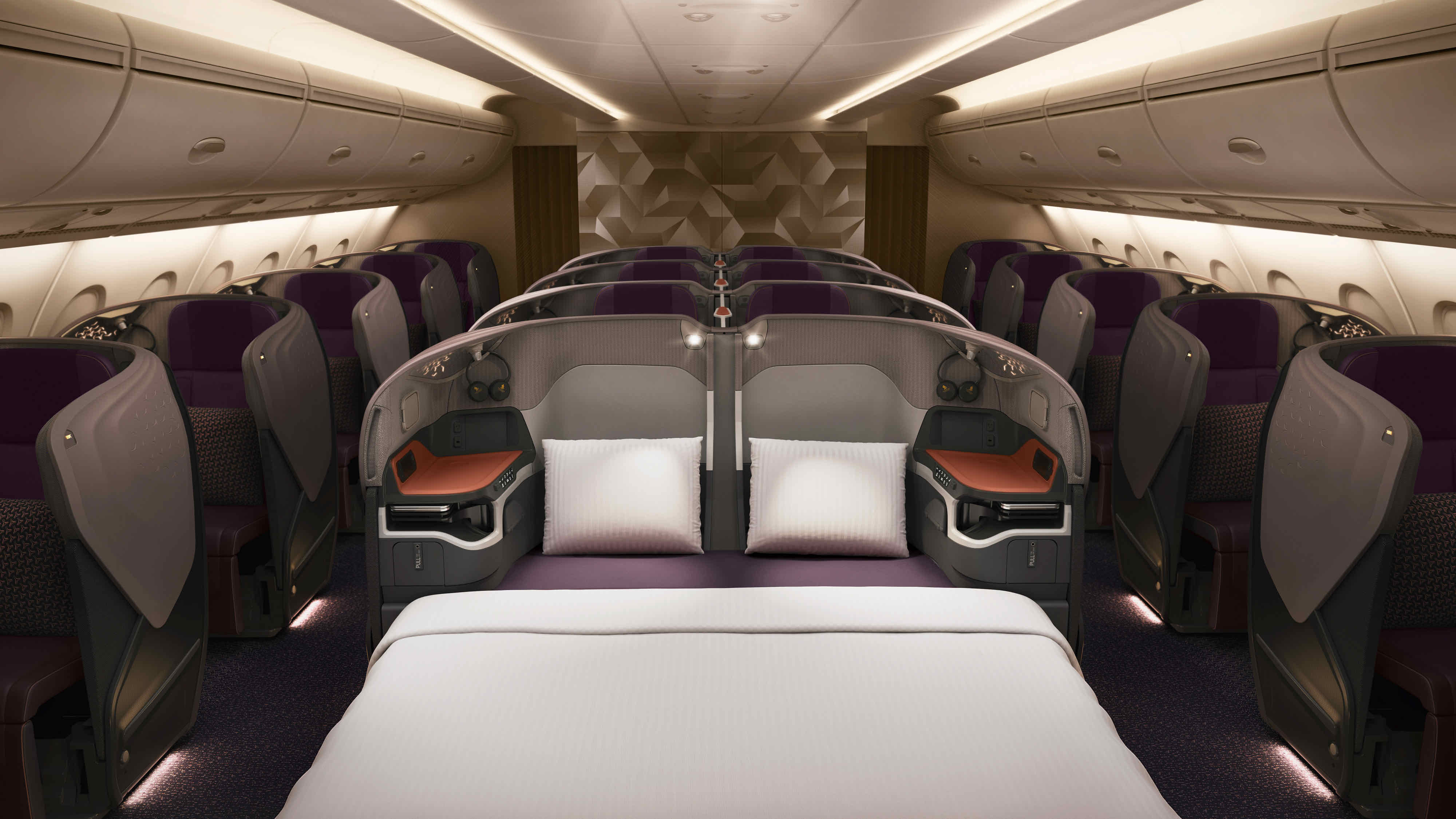 Singapore Airlines A380 New Business Class lie-flat bed