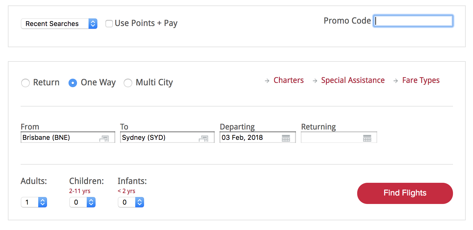 Virgin Australia book using promo code