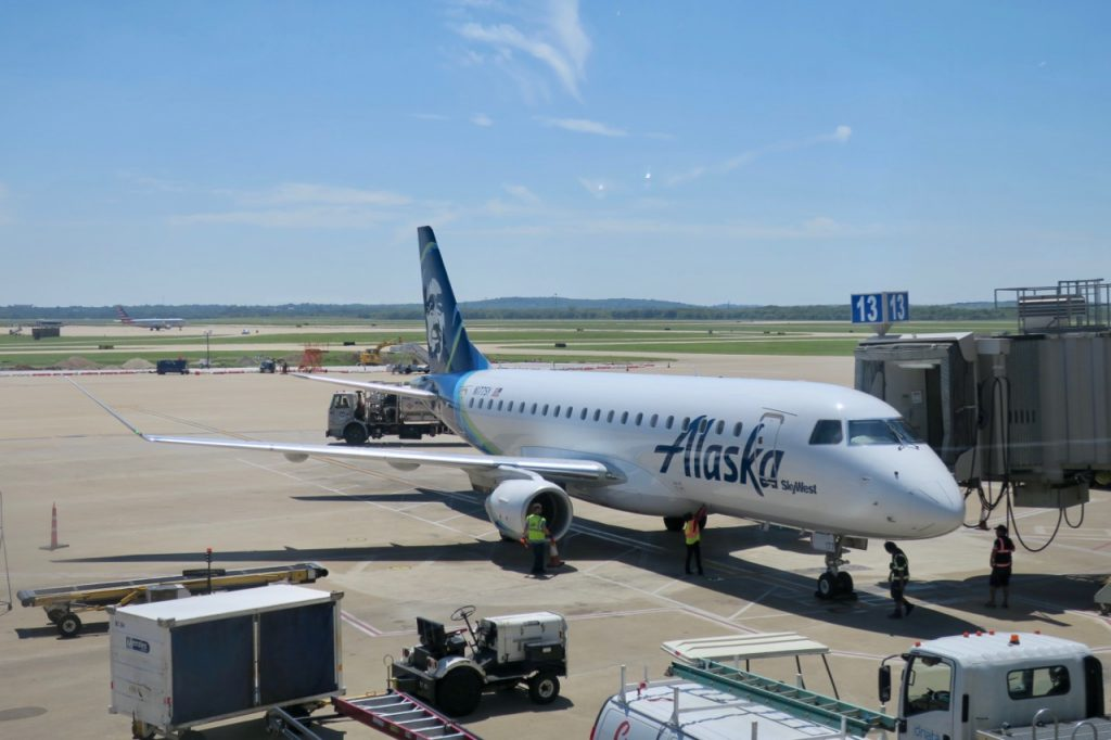 Alaska Airlines plane on tarmac at Austin Airport
