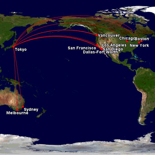 JAL via tokyo to USA