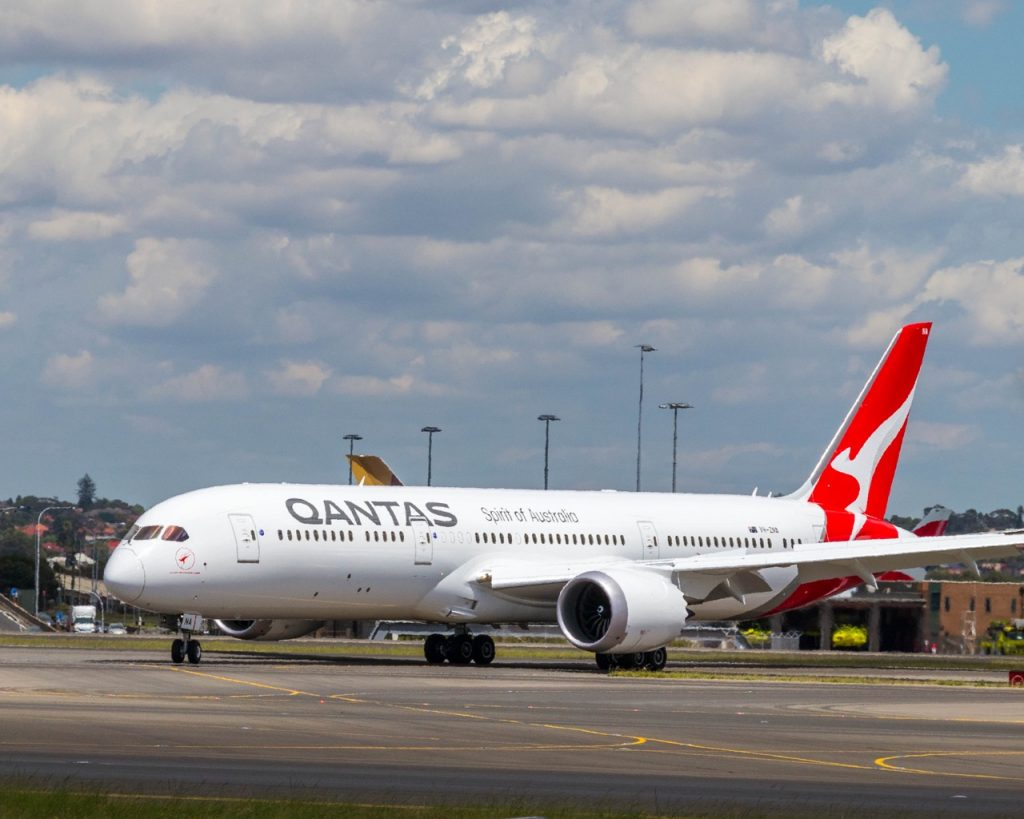 Qantas Plane on runway
