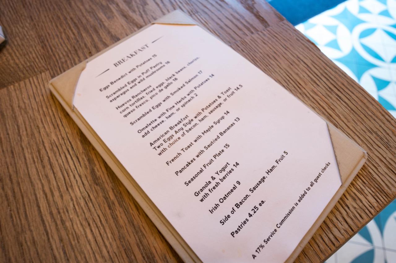 W Hotel Hollywood - Delphine Restaurant menu