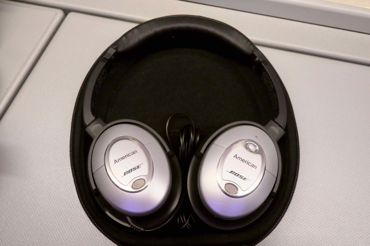 American Airlines 772 Business Class headphones