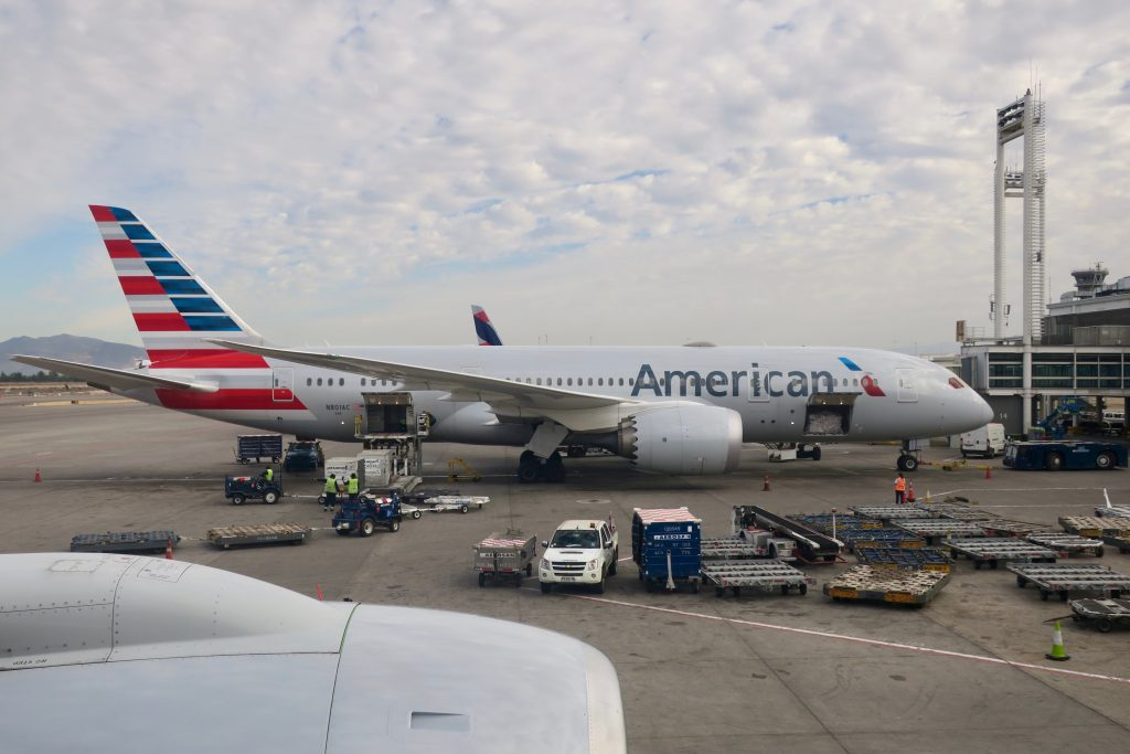 American Airlines 787 at Santiago Airport