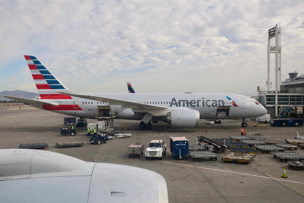 American Airlines Boeing 777-200 at Santiago Airport