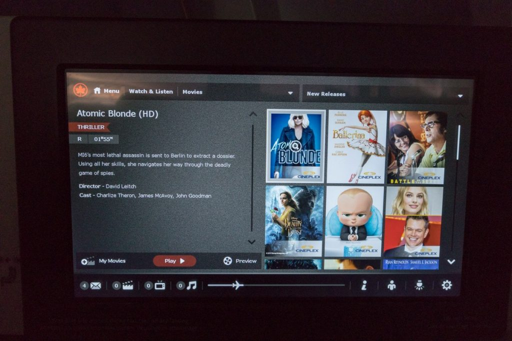 Air Canada 777 Business Class inflight entertainment screen