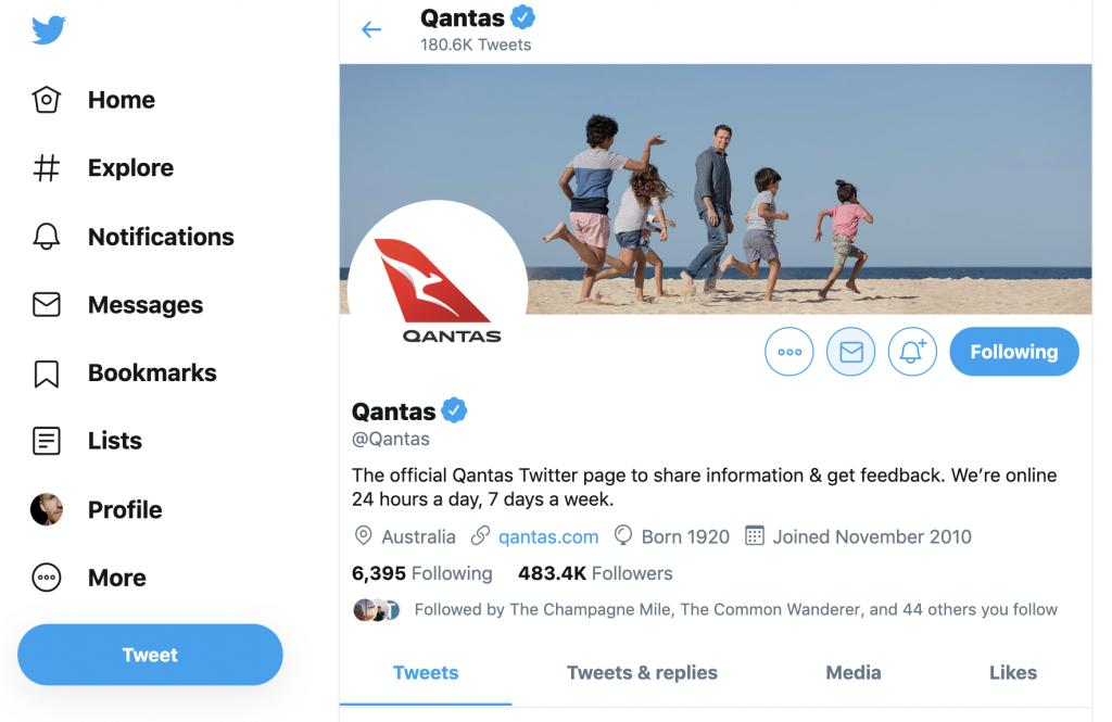 Qantas Twitter page
