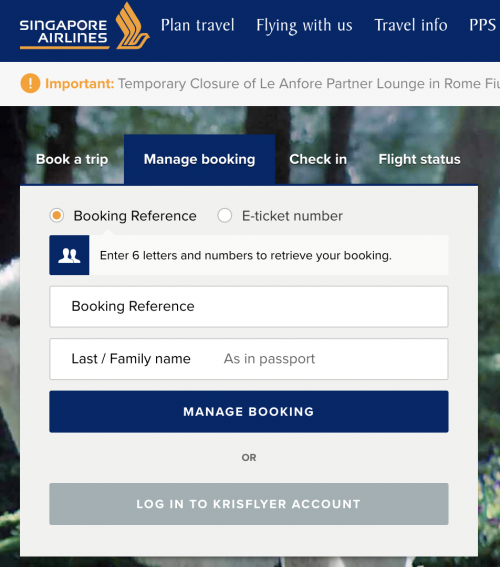 Singapore Airlines' booking
