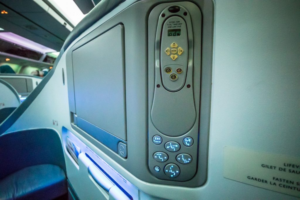 Air Canada Boeing 767-300 Business Class seat control