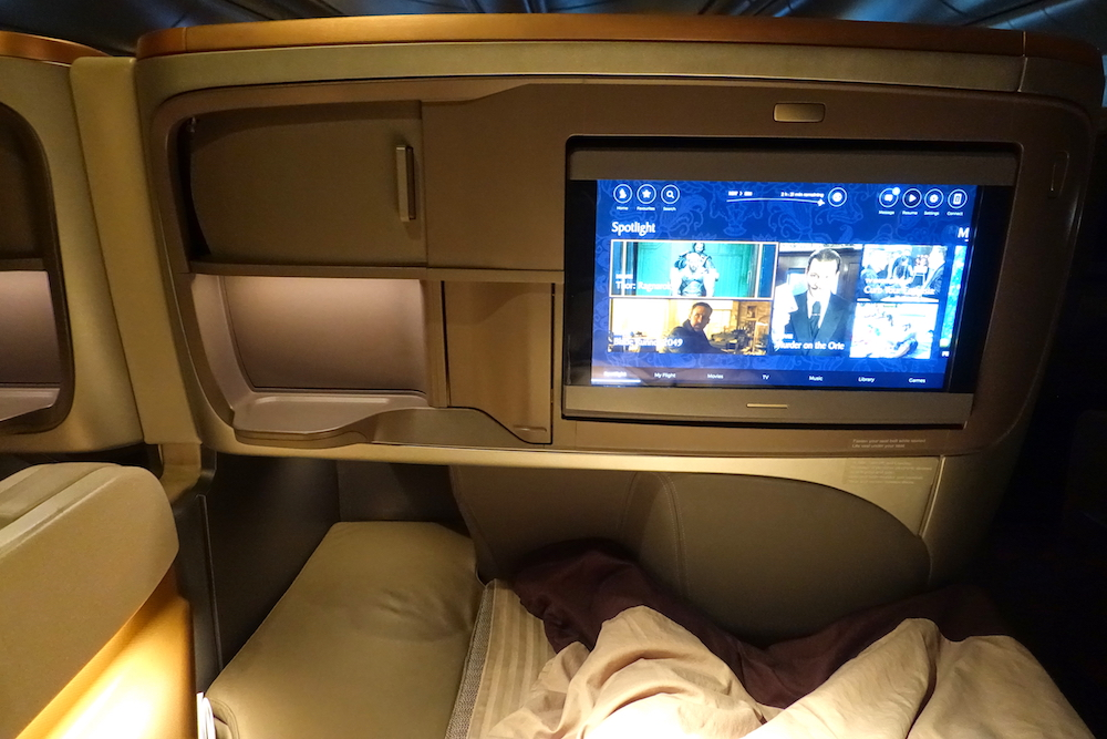 Singapore Airlines 777-300ER lie-flat bed footwell
