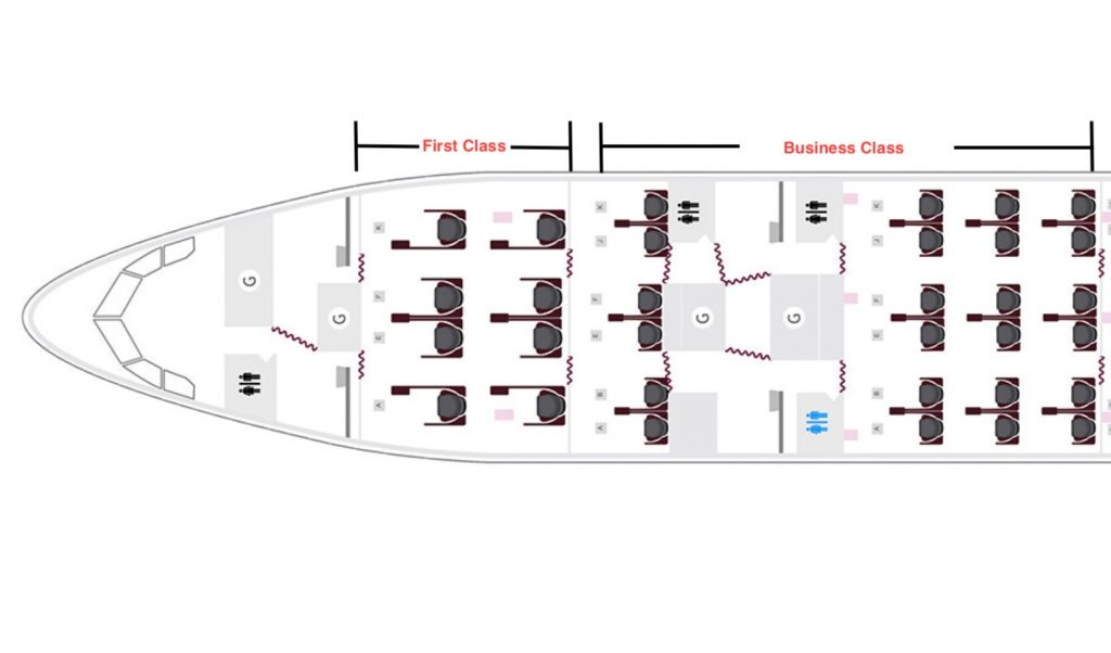 Qatar A330 First and Business class seat map