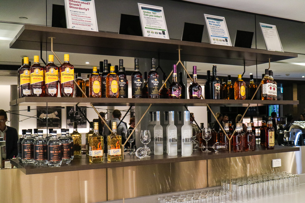 Amex Lounge Melbourne alcohol selection