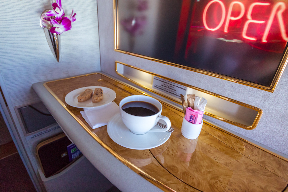 Emirates 777 First Class coffee