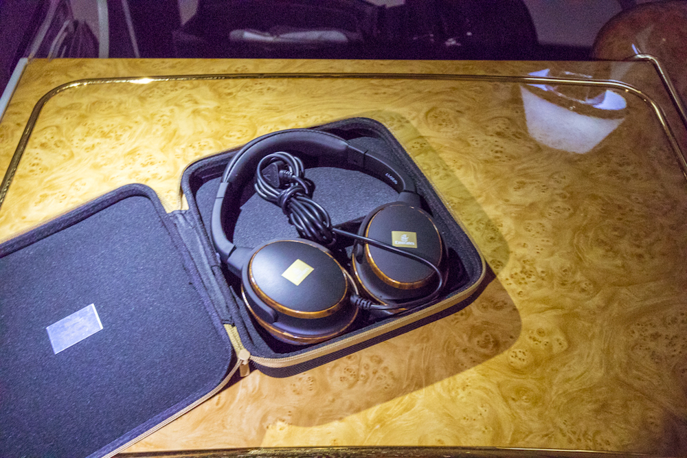 Emirates 777 First Class inflight entertainment headphones