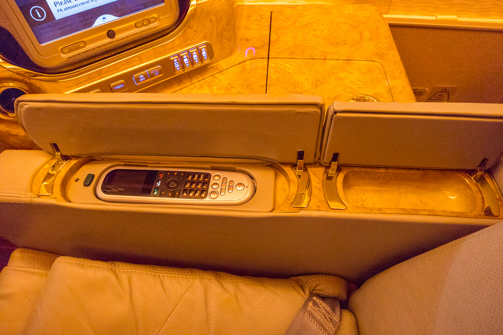 Emirates 777 First Class inflight entertainment screen remote