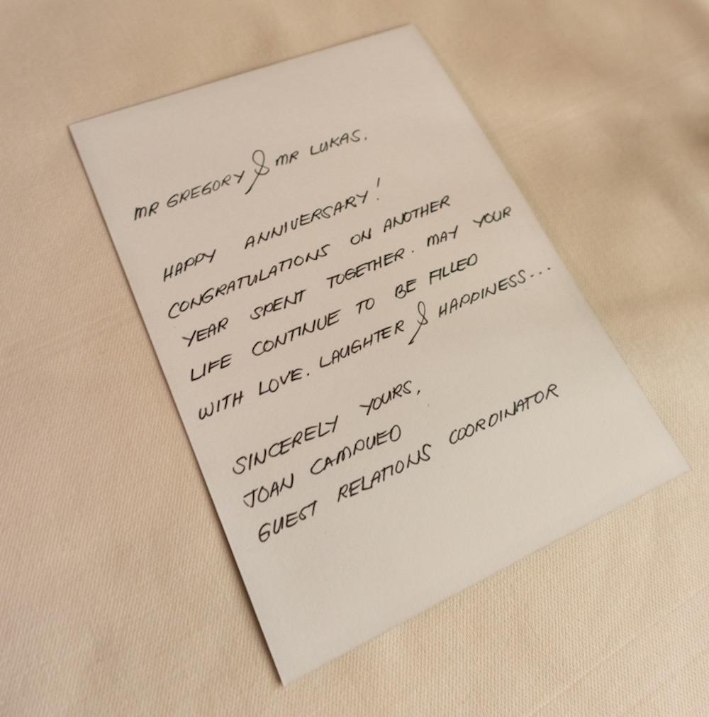 Al Maha, a Luxury Collection Desert Resort & Spa, Dubai anniversary note