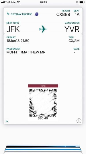 Cathay Pacific digital boarding pass
