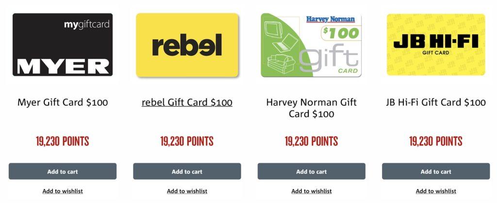 NAB Rewards GIft Cards