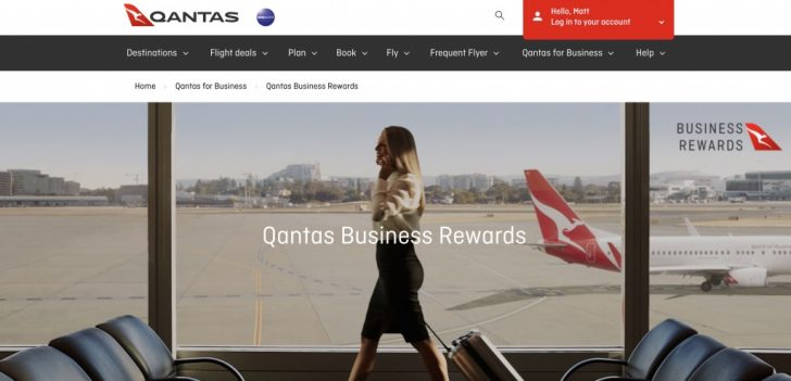 Qantas Business Rewards homepage | Point Hacks