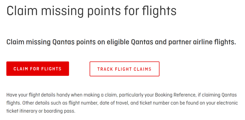 Claiming points from Qantas Frequent Flyer