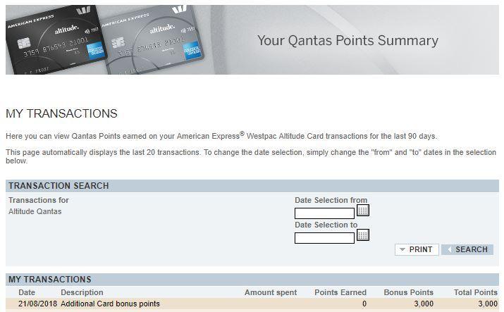 Qantas Points summary