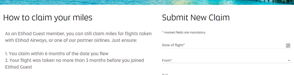 Claiming miles from Etihad Guest
